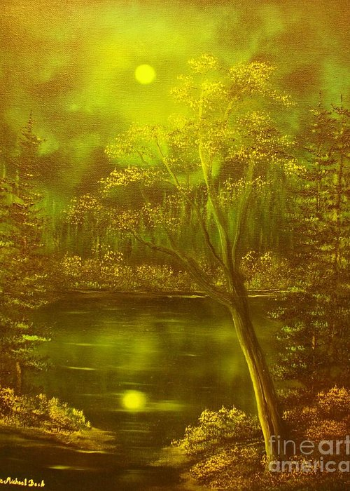 Moon Greeting Card featuring the painting Moony Waters- Original Sold - Buy Giclee Print Nr 37 Of Limited Edition Of 40 Prints Mited Edprints by Eddie Michael Beck