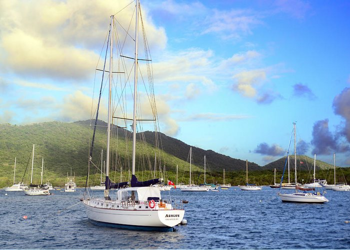 Island Greeting Card featuring the photograph Moored To Relax by Michael Glenn