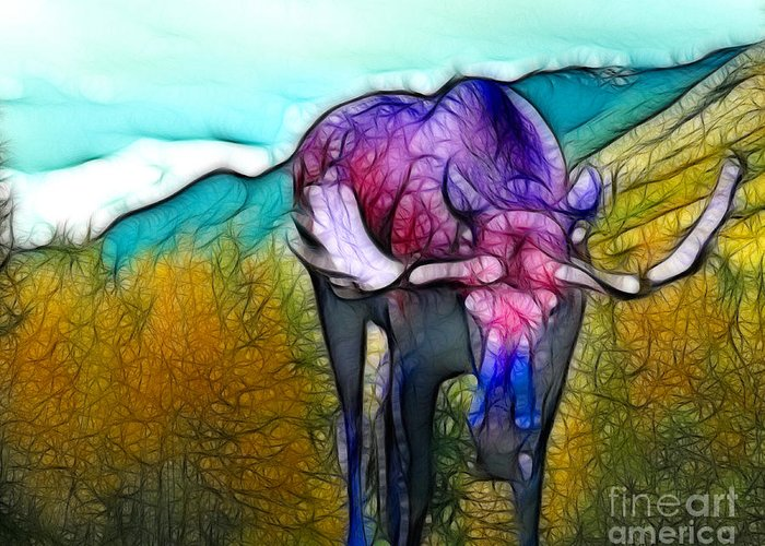 Moose Greeting Card featuring the mixed media Moose in Pure Light by Francine Dufour Jones