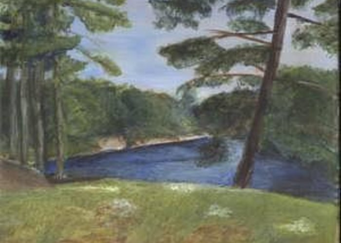 Moose River Greeting Card featuring the painting Moose River by Sheila Mashaw