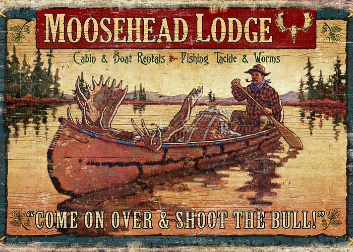 Tin Tanner Greeting Card featuring the painting Moosehead Lodge by JQ Licensing