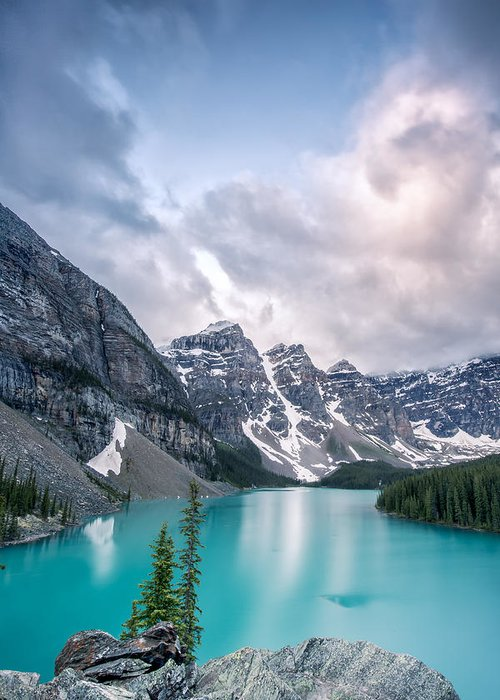 Vertical Greeting Card featuring the photograph Moraine Cloud Burst by Jon Glaser