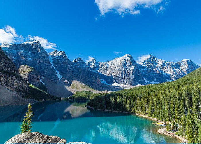 Photography Greeting Card featuring the photograph Moraine Lake At Banff National Park by Panoramic Images