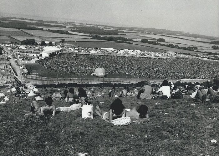retro Images Archive Greeting Card featuring the photograph More Than 100,000 Fans Attend The Isle Of Wight Pop by Retro Images Archive