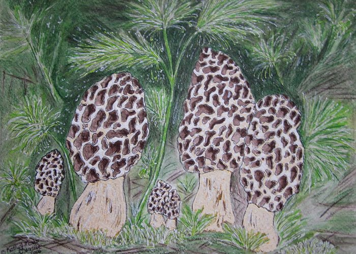 Morel Greeting Card featuring the painting Morel Mushrooms by Kathy Marrs Chandler