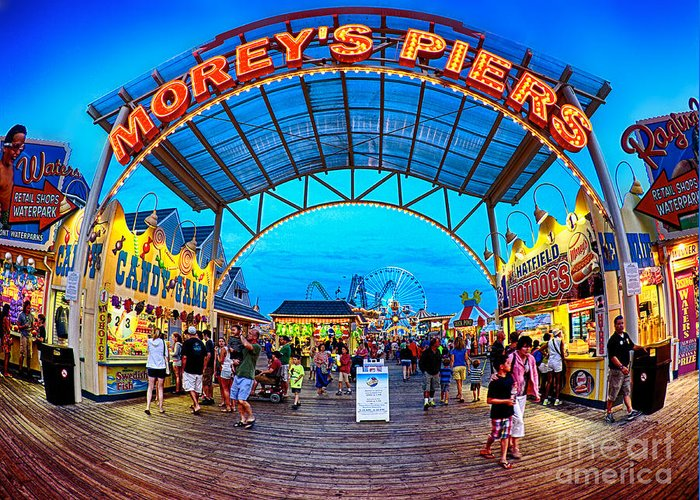 156 Foot Tall Greeting Card featuring the photograph Moreys Piers In Wildwood by Mark Miller
