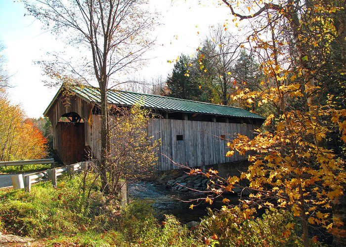 Covered Bridge Greeting Card featuring the photograph Morgan Bridge 2 by Barbara McDevitt