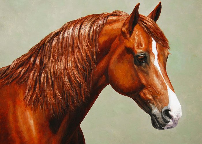 Horse Greeting Card featuring the painting Morgan Horse - Flame by Crista Forest