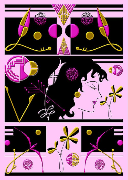 Art Deco Greeting Card featuring the digital art Morioka Montage In Bright Pink And Gold by Nancy Lorene