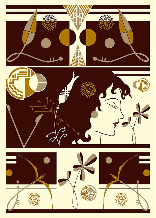 Art Deco Greeting Card featuring the digital art Morioka Montage In Brown And Gold by Nancy Lorene