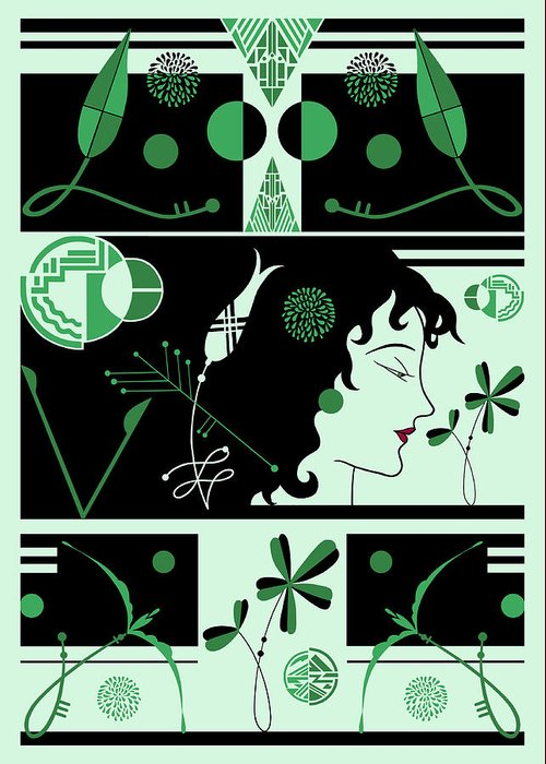 Art Deco Greeting Card featuring the digital art Morioka Montage In Green And Black by Nancy Lorene