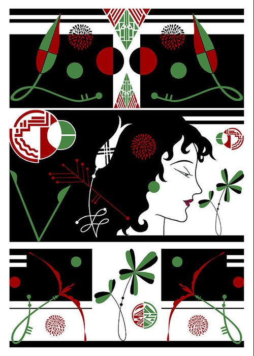 Art Deco Greeting Card featuring the digital art Morioka Montage In Holiday Colors by Nancy Lorene
