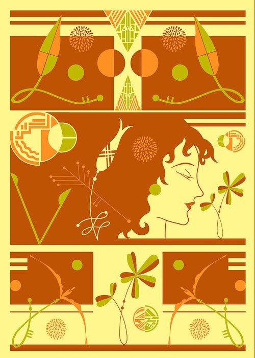 Art Deco Greeting Card featuring the digital art Morioka Montage In Sixties Sunshine by Nancy Lorene