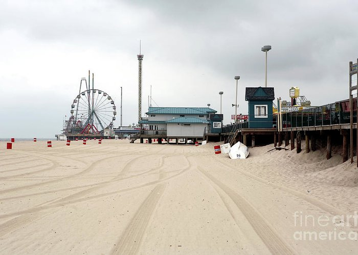 Morning At Seaside Heights Greeting Card featuring the photograph Morning At Seaside Heights by John Rizzuto