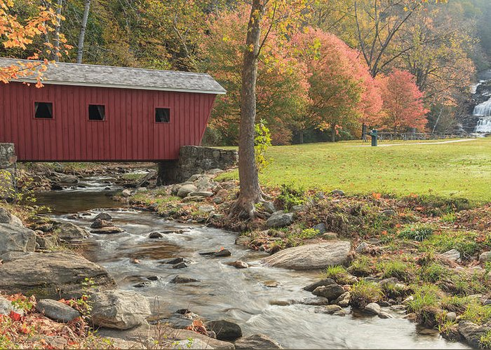 Covered Bridge Greeting Card featuring the photograph Morning At The Park by Bill Wakeley