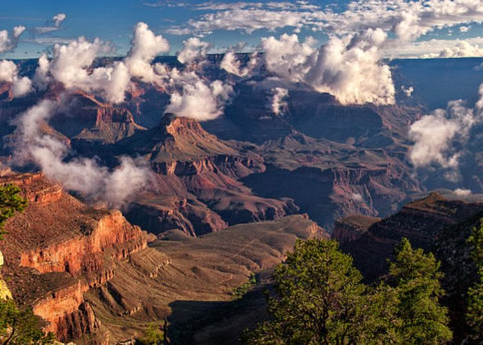 Grand Canyon Greeting Card featuring the photograph Morning Clouds At El Tovar by Joe Ownbey