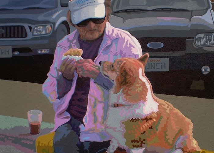 Corgi Greeting Card featuring the painting Morning Coffee V.4 by Max Yamada