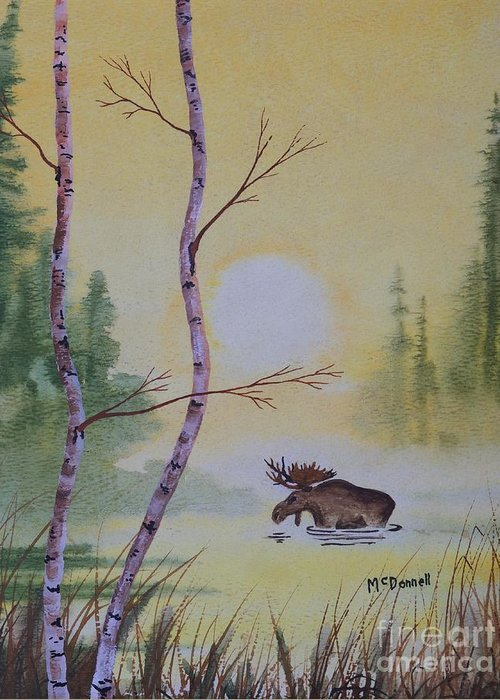 Moose Greeting Card featuring the painting Morning Crossing by Gary McDonnell