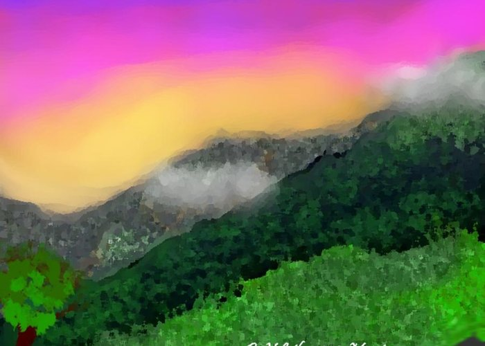 Landscape Greeting Card featuring the digital art Morning by Dr Loifer Vladimir