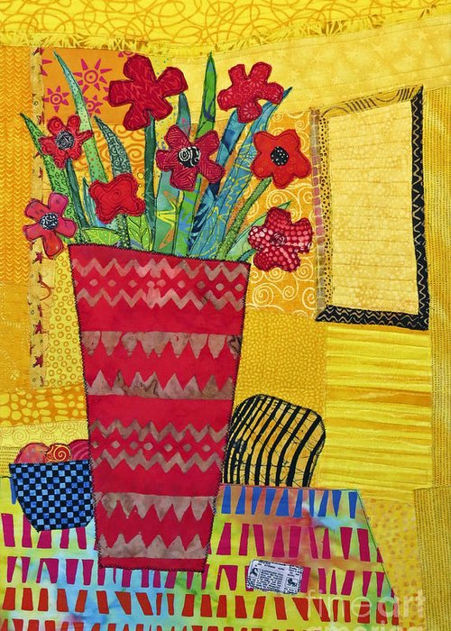 Floral Still Life Greeting Card featuring the tapestry - textile Morning Dreams by Susan Rienzo