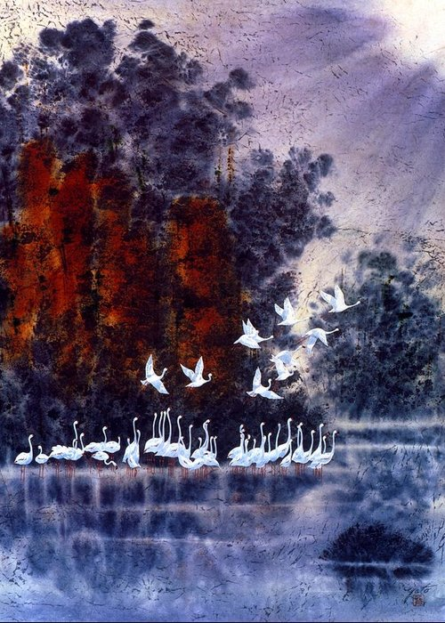 Flamingo Art Greeting Card featuring the painting Morning Flight by John YATO