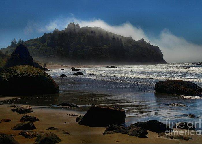 Trinidad Beach Greeting Card featuring the photograph Morning Fog Burn by Adam Jewell