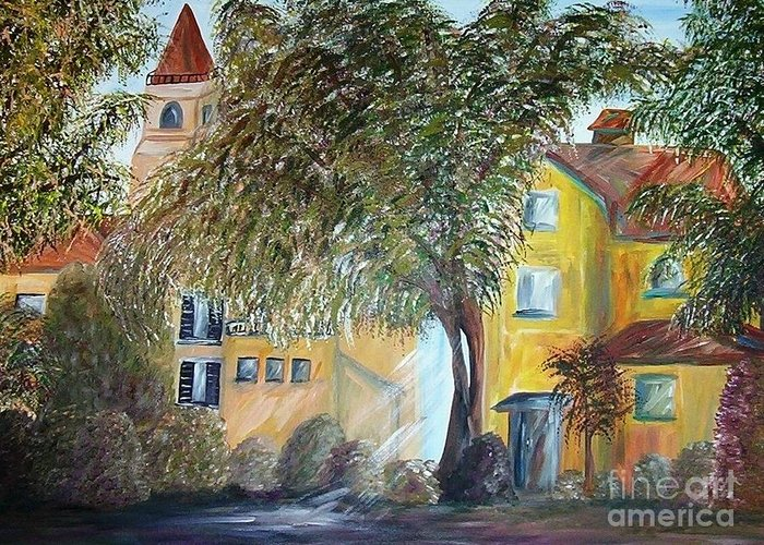 Tuscany Greeting Card featuring the painting Morning In The Old Country by Eloise Schneider