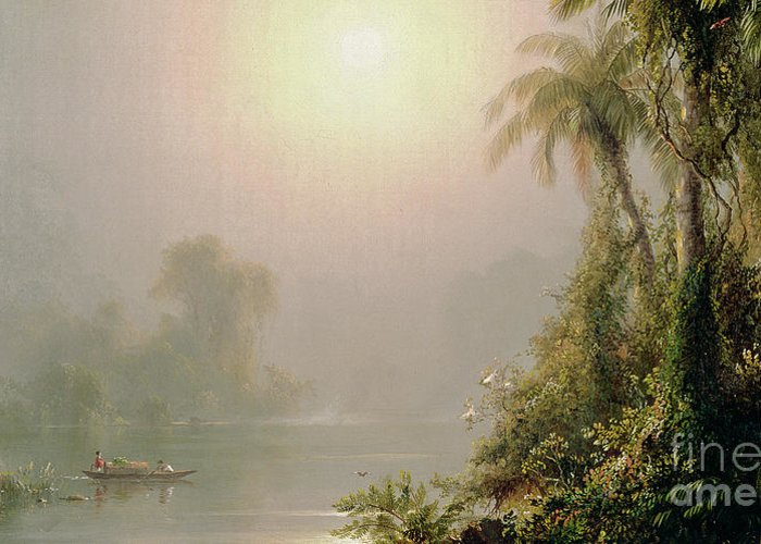 Morning In The Tropics Greeting Card featuring the painting Morning In The Tropics by Frederic Edwin Church