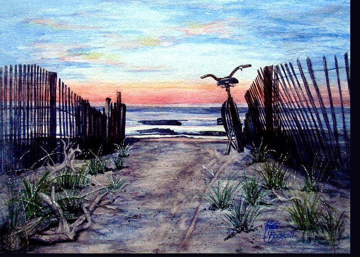 Beach Greeting Card featuring the painting Morning Invitation by Ruth Bodycott