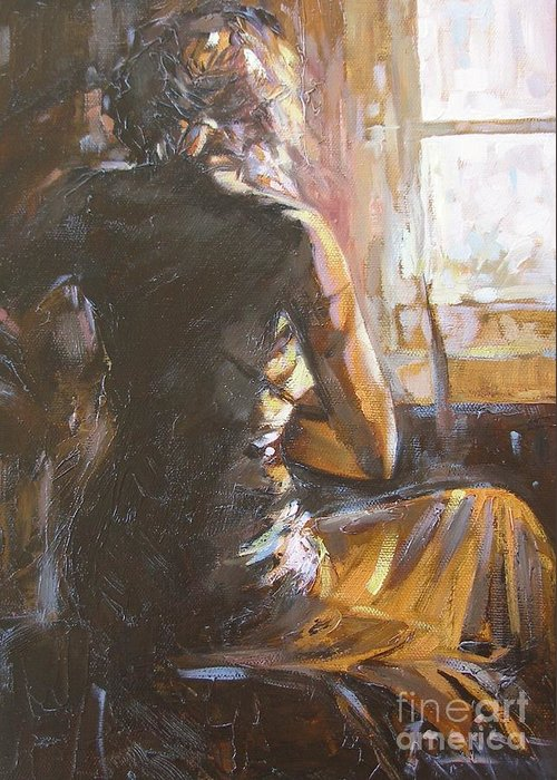 Woman Greeting Card featuring the painting Morning by Janina Pazdan