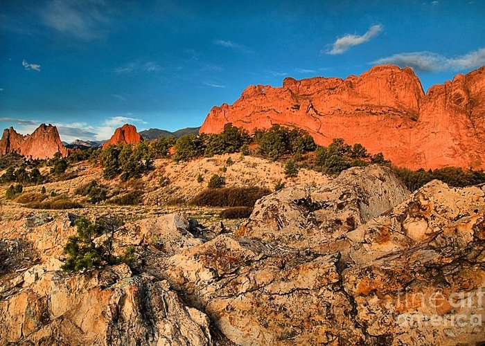 Sunrise At Garden Of The Gods Greeting Card featuring the photograph Morning Light At Garden Of The Gods by Adam Jewell