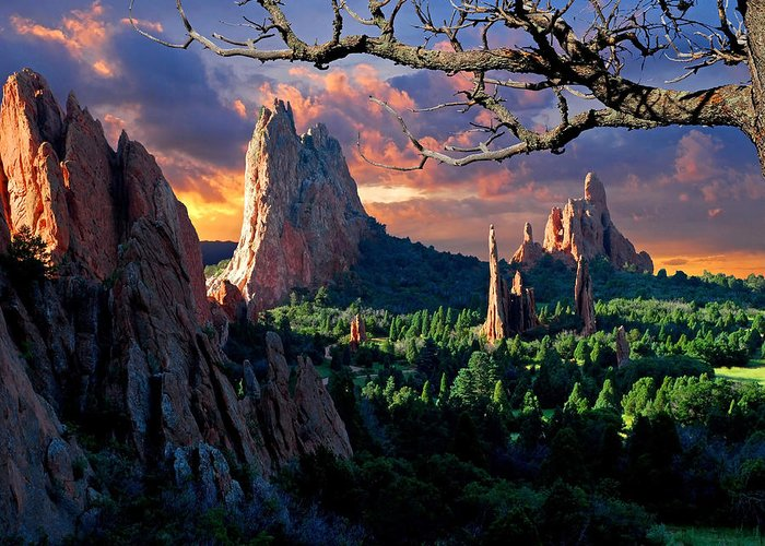 Colorado Springs Greeting Card featuring the photograph Morning Light At The Garden Of The Gods by John Hoffman