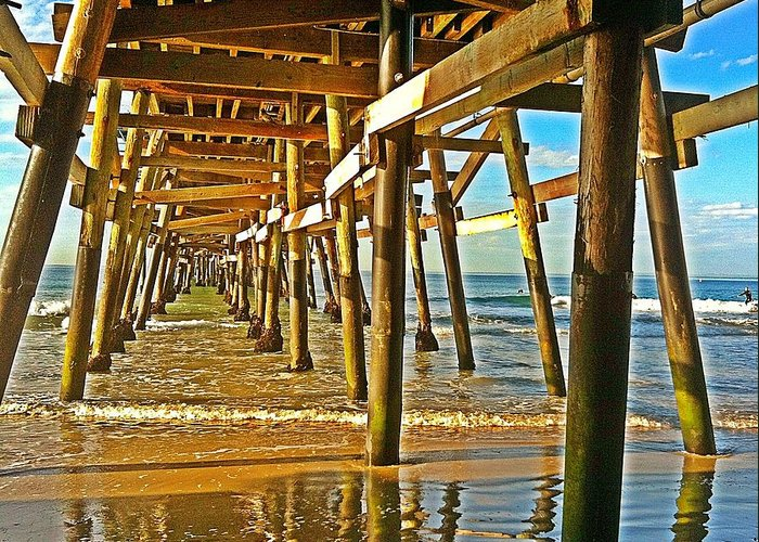 San Clemente Pier Greeting Card featuring the photograph Morning Light During Low Tide by Traci Lehman