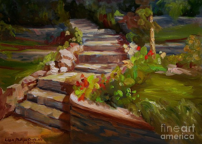 Stone Steps Greeting Card featuring the painting Morning Light by Lisa Phillips Owens
