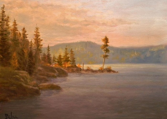 Coeur D'alene Greeting Card featuring the painting Morning Light On Coeur D'alene by Paul K Hill