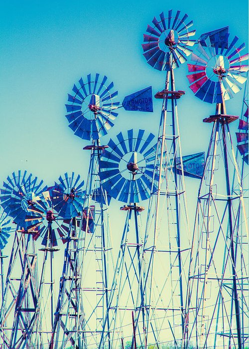 Windmills Greeting Card featuring the photograph Morning Light On The Blue Windmills by Iris Greenwell