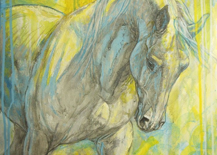 Horse Greeting Card featuring the painting Morning Light by Silvana Gabudean Dobre