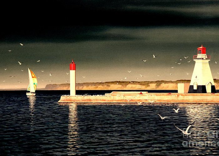 Lighthouse Greeting Card featuring the painting Morning by Michael Swanson