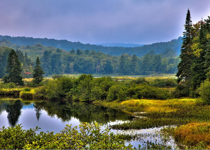 Adirondack's Greeting Card featuring the photograph Morning Mist On The Moose River by David Patterson