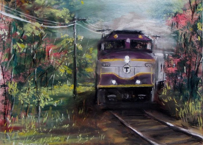 Train Greeting Card featuring the painting Morning Outbound by Jack Skinner