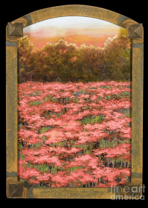 Poppy Greeting Card featuring the painting Morning Poppy Fields With Gold Leaf By Vic Mastis by Vic Mastis