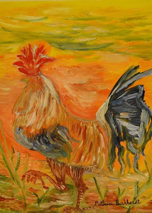 Chicken Greeting Card featuring the painting Morning Stroll by Louise Burkhardt