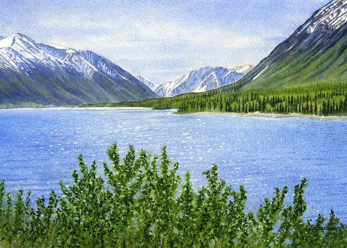 Watercolor Greeting Card featuring the painting Morning Sun On Kenai Lake by Sharon Freeman