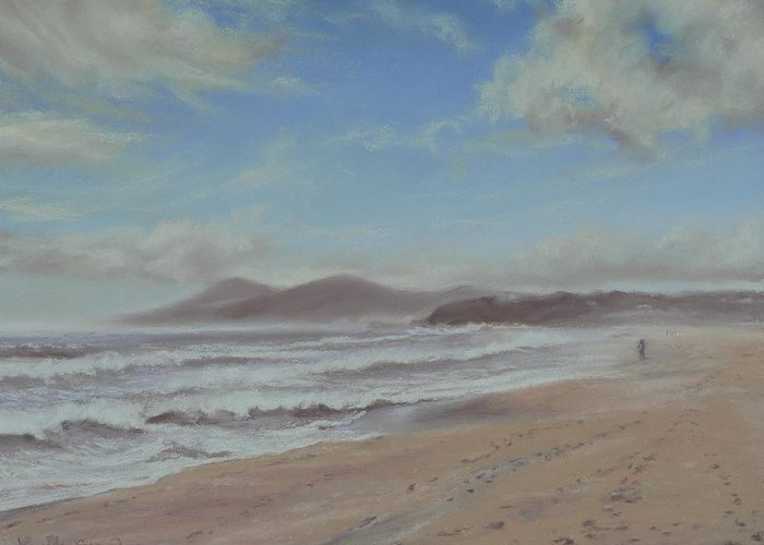 Forster Greeting Card featuring the pastel Mornings Haze One Mile Beach Forster by Louise Green