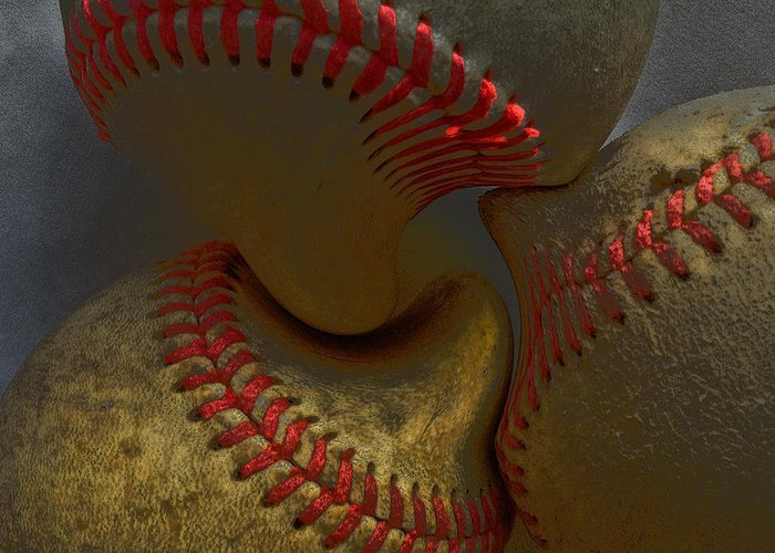 Morphing Greeting Card featuring the photograph Morphing Baseballs by Bill Owen