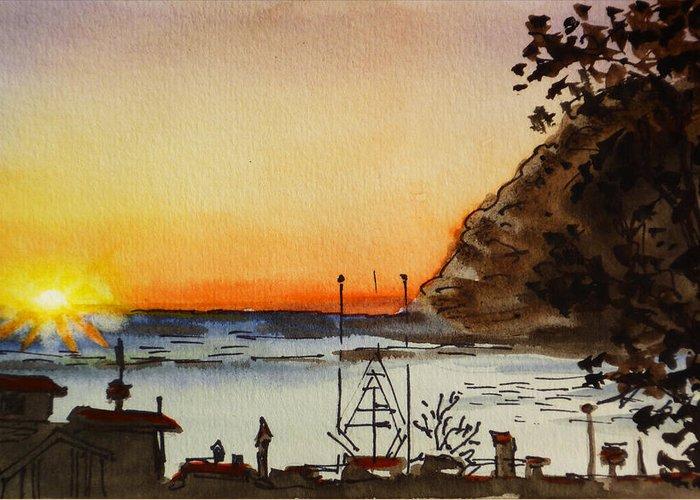 Morro Bay Rock Sunset Greeting Cards