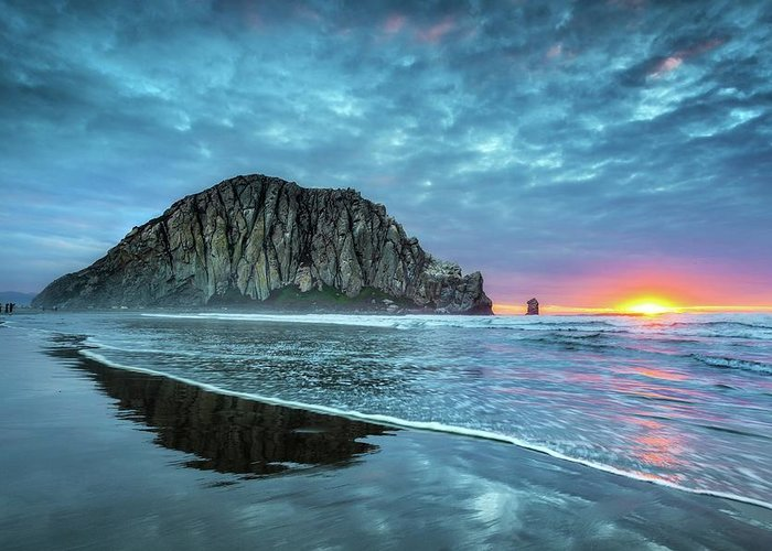 Tranquility Greeting Card featuring the photograph Morro Sunset by Tom Grubbe