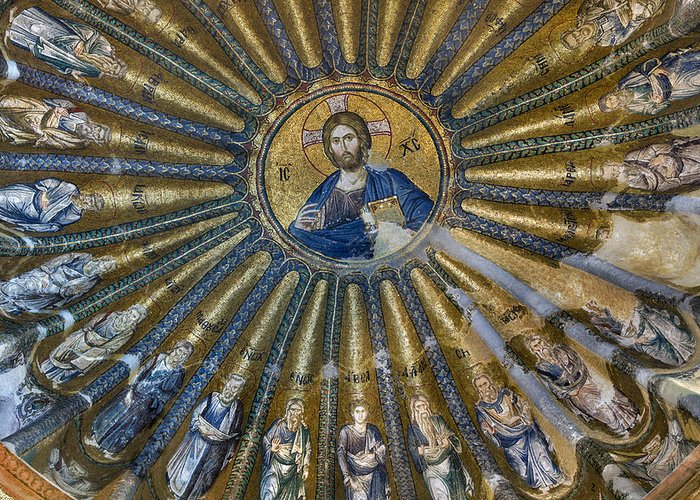 Mosaic Of Christ Pantocrator Greeting Card featuring the photograph Mosaic Of Christ Pantocrator by Ayhan Altun