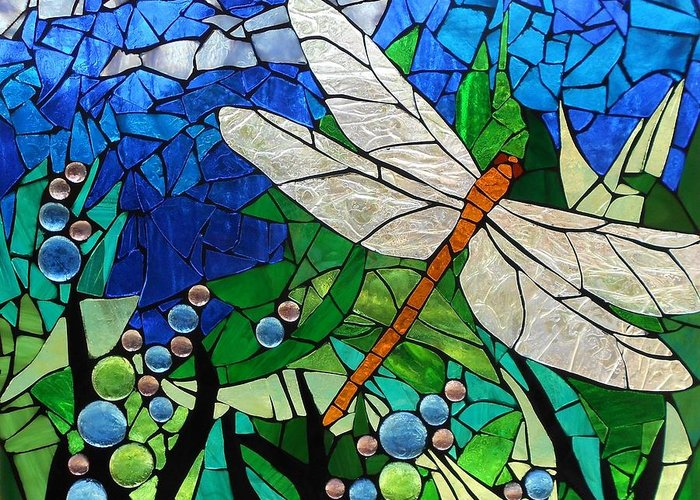 Mosaic Stained Glass Golden Brown Dragonfly Greeting