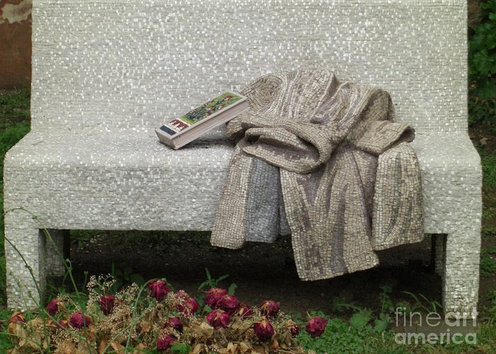 Ravenna Greeting Card featuring the photograph Mosiac Bench by Deborah Smolinske